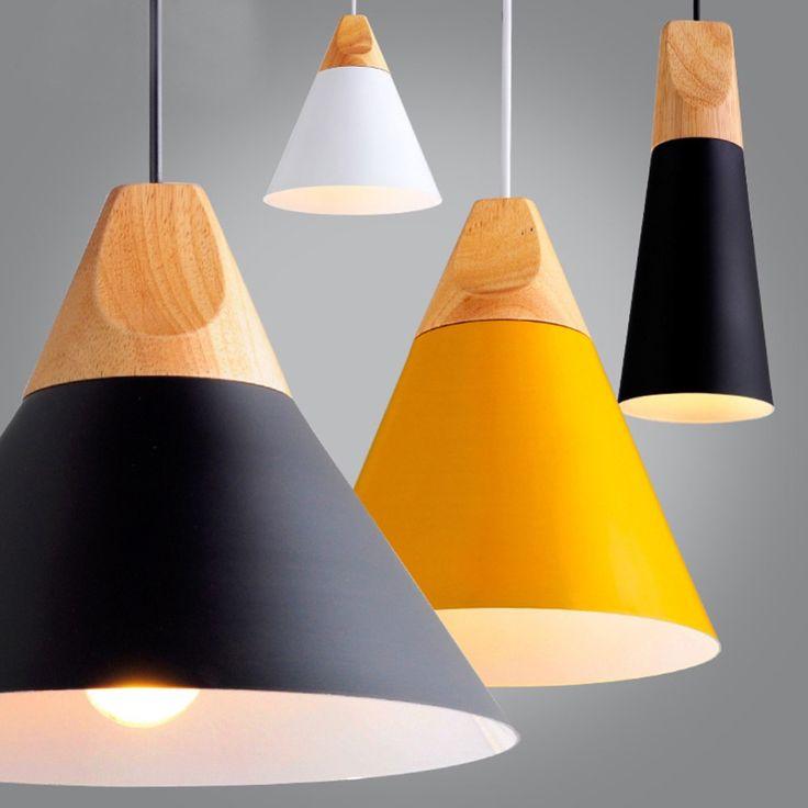 モダンな木製ペンダントライトlamparasカラフルなアルミランプシェード照明器具ダイニングルームライトペンダントランプ用ホーム照明