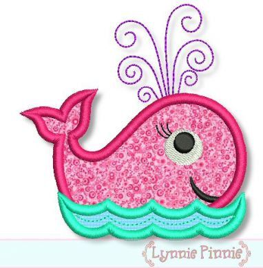 SWIRLY Girly WHALE Applique 4x4 5x7 6x10  Machine Embroidery Design girl beach ocean  INSTANT Download. $2.99, via Etsy.