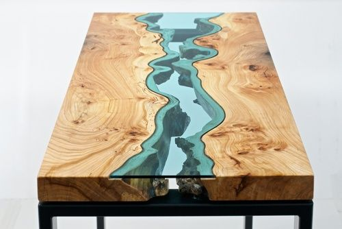 Wooden Tables With Glass Embedded In Them To Look Like Rivers