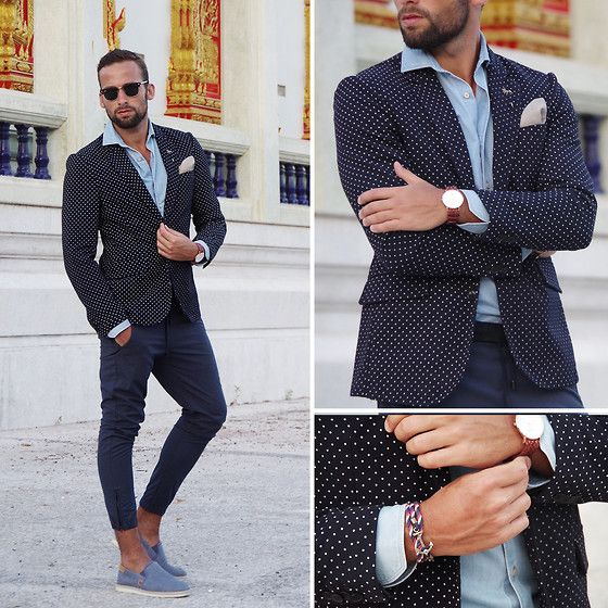Scotch & Soda Blazer, Kiel James Patrick Bracelet, North Twentytwo Watch, Stenstroms Shirt, Nic & Mel Pocket Square, Zara Pants, Timberland Slippers, Ray Ban Shades