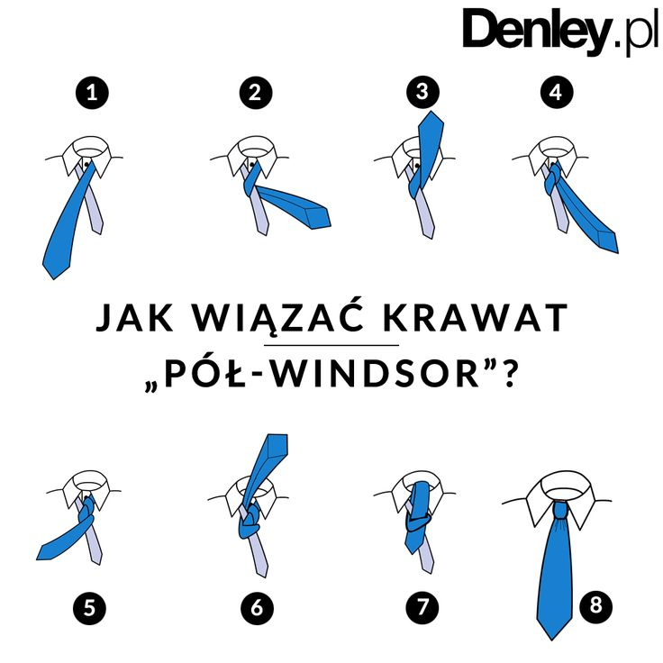 """Od teraz już nie będziesz miał problemu z wiązaniem krawata. Poznaj tajniki węzła typu """"pół-windsor"""". Stosuje się go przy krawatach szerszych lub z grubych, żakardowych tkanin. Pasuje praktycznie do każdego rodzaju kołnierzyka."""
