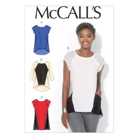 Mccall's Patterns MC7093 A5 Sizes 6/8/10/12/14 Misses Tops and Tunic