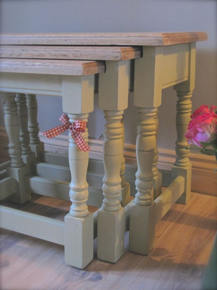 Shabby Chic Oak Nest Of Tables Annie Sloan Chalk Paint                                                                                                                                                                                 More