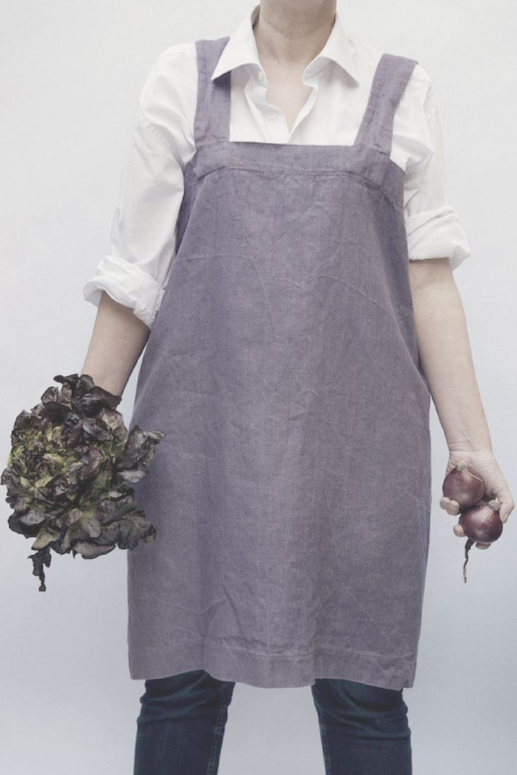 White linen apron - Lime Green Japanese Style Apron Linen Aprons