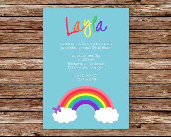 Printable Rainbow Birthday Invitations ~ Best rainbow birthday party images rainbow