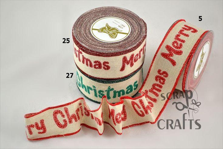 Χριστουγεννιάτικη+βαμβακερή+κορδέλα+τυπωμένη+με+ευχή+Merry+Christmas.+Κατάλληλη+για+χριστουγεννιάτικη+διακόσμηση.+Τελείωμα...