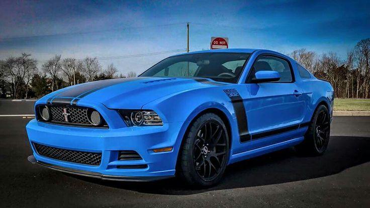 2013 Ford Mustang Boss 302 in Grabber Blue.