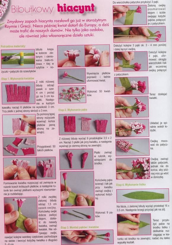 Paper hyacinth instructions (in Russian, but photos seem fairly clear)