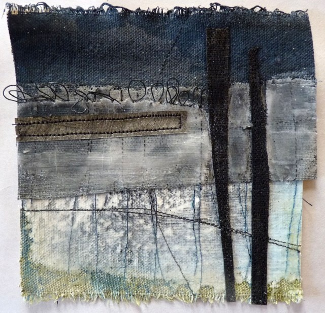 Debbie Lydon : Small Marshscape – Two Posts, Cloth, Stitch, Wax, approx. 14x14cms