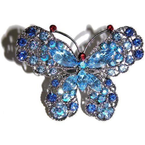 "2.25"" Wide Butterfly Ring with Swarovski Crystals In Light Blue with Silver Finish . $14.99. Save 67% Off!"