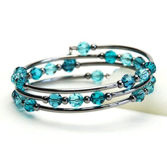 Teal Blue Memory Wire Bracelet - Indicolite Blue Zircon Light Turquoise Swarovski Crystal Bracelet - Blue Topaz Bracelet on Etsy, $25.00