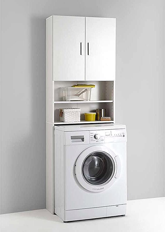 Armoire Pour Lave Linge Olbia Blanc In 2020 Laundry In Bathroom Washing Machine Wooden Bathroom Cabinets
