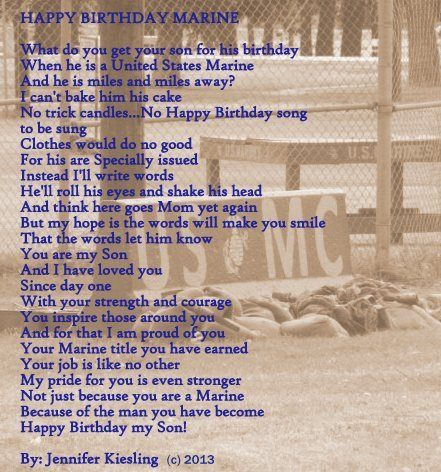 Happy Birthday Marine  Marine Mom Poem