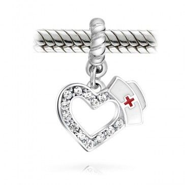 Mothers Day Gifts 925 Silver Crystal Nurse Hat Heart Charm Fits Pandora Bead  ****$23 including shipping presently, new company to me
