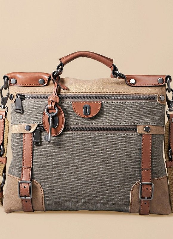 FOSSIL Emilia Flat Crossbody 11 ||  Its unique combination of colors and textures makes it a vintage-inspired essential. Chic and classic, this Emilia flat crossbody is made from canvas and trimmed in leather and metallic suede.