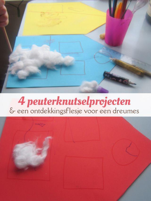 Vier knutselproject geschikt voor peuters: sneeuwhuisjes maken, oude kerstkaarten, water en verf en een doos beschilderen. En om je dreumes ondertussen zoet te houden, geef je hem een ontdekkingsflesje. van: www.mizflurry.nl