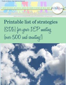 printable list of strategies (SDIs) for your IEP meeting (over 500 and