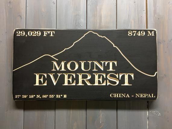 Mount Everest Elevation Sign Etsy Custom Sign Elevation Mount Everest