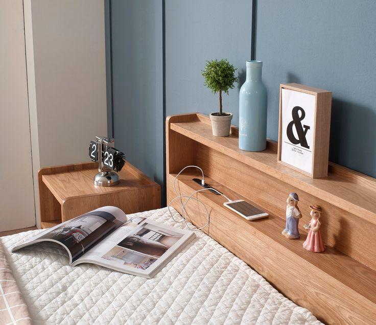 Momo Nature Oak Bed Frame with Storage (King)