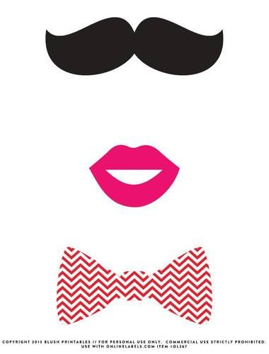 """OL267 - 8.5"""" x 11"""" - Mustache, Bow Tie, Kissy lips Photo Booth Printable Props"""