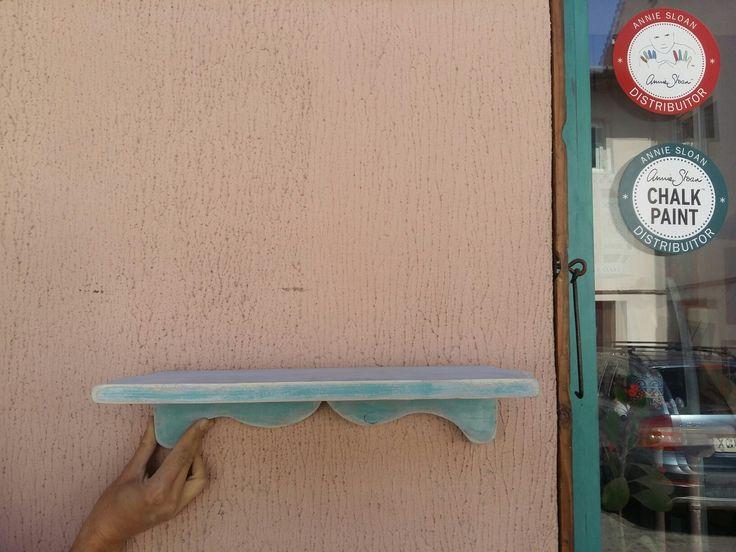 Shelf in Original, Louis Blue and Provence. Annie Sloan Chalk Paint :)
