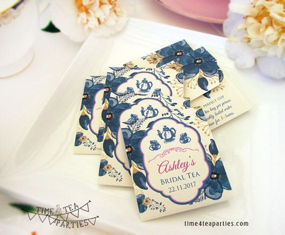 Navy Blue Floral Tea Bag covers  Bridal Tea  by Time4TeaParties