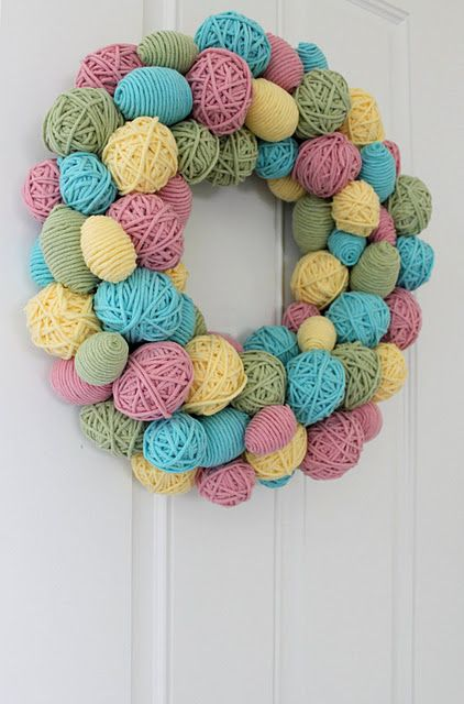 Yarn egg wreath - good for using up scraps