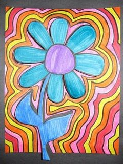 4th Grade Echo Flower Project For Spring Art Docent