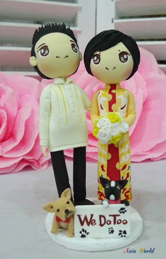 Custom traditional wedding costume cake topper,Bride in Ao dai Vietnam wedding costume and Groom in Barong Philippine wedding costume clay doll,wedding cake topper clay figurine,We do too clay miniature, rings holder in wedding, engagement, bridal shower, anniversary or perfect gift for couple in wedding, impressive gift for any special day or a great keepsake for keep forever. This topper is made of high quality super light non-toxic clay.  Dimension: 5.5-5.9 inches high  You can customize…