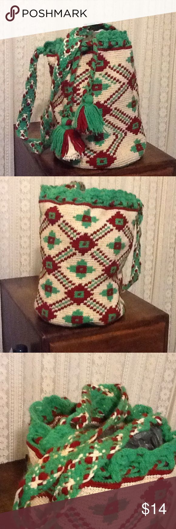 "Vintage Aztec Shoulder Handbag Purse Very cool and vintage ladies boho Aztec design handbag purse. Very cool design. Green cream and burgundy. It is a very good condition. 10"" tall, round bottom. Not including the handle. Unknown  Bags Shoulder Bags"