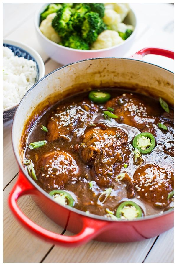 Vietnamese Caramel Chicken -- chicken thighs braised in a sweet and spicy caramel sauce with jalapeños, ginger, and scallions. Serve it with steamed veggies and rice and it's a perfect weeknight dinner. | thehungrytravelerblog.com