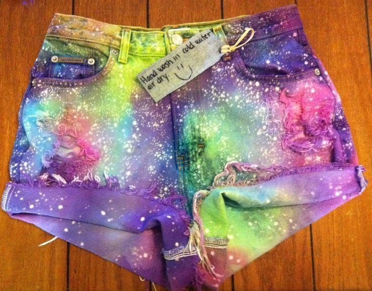 Rainbow Galaxy High Waisted Shorts
