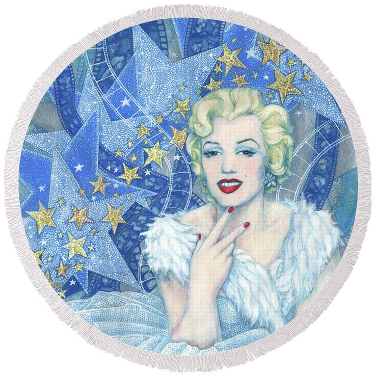 """Marilyn Monroe Round Bwach Towel Portrait from the """"Old Hollywood"""" series. Marilyn Monroe in white tulle dress and feather boa, a lot of little and big stars and celluloid films as a background. Blue, white, silver and light yellow colors. Artwork was inspired by Andy Warhol's portraits and Edmund Greene's photograph by Marilyn. Celebrity art, fine art portrait, acrylic painting. © Clipso-Callipso / Julia Khoroshikh #Marilyn, #Monroe, #hollywood, #contemporary, #art, #celebrity, #portrait"""