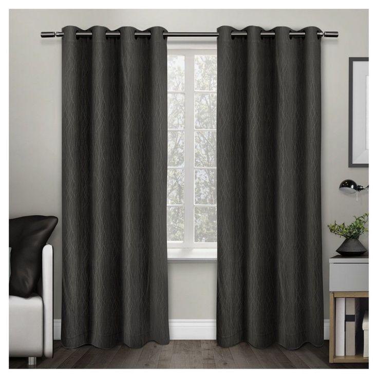 Crete Textured Jacquard Thermal Window Curtain Grommet Top Panel Pair