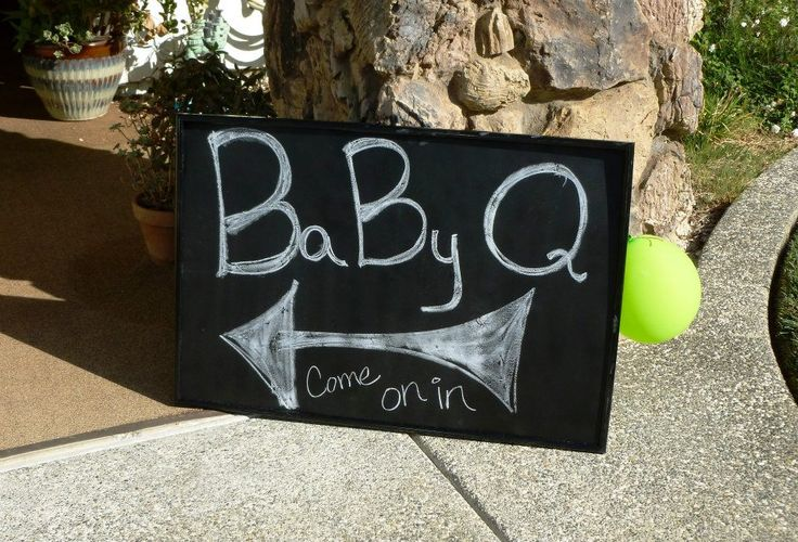 BaByQ Sign and other theme decoration ideas for Backyard Barbecue Baby Shower