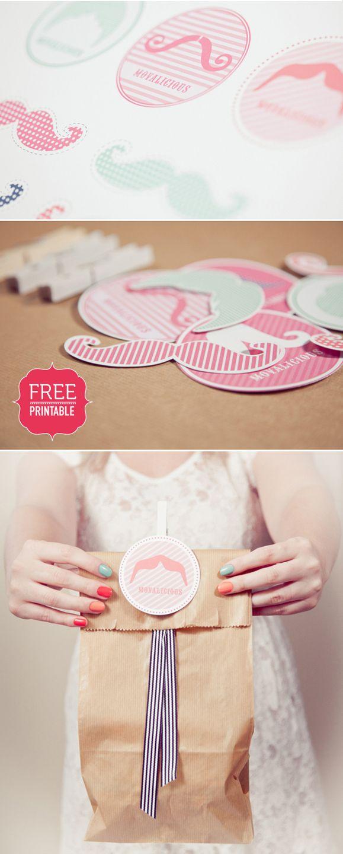 FREE mustache printables {elephant shoe}
