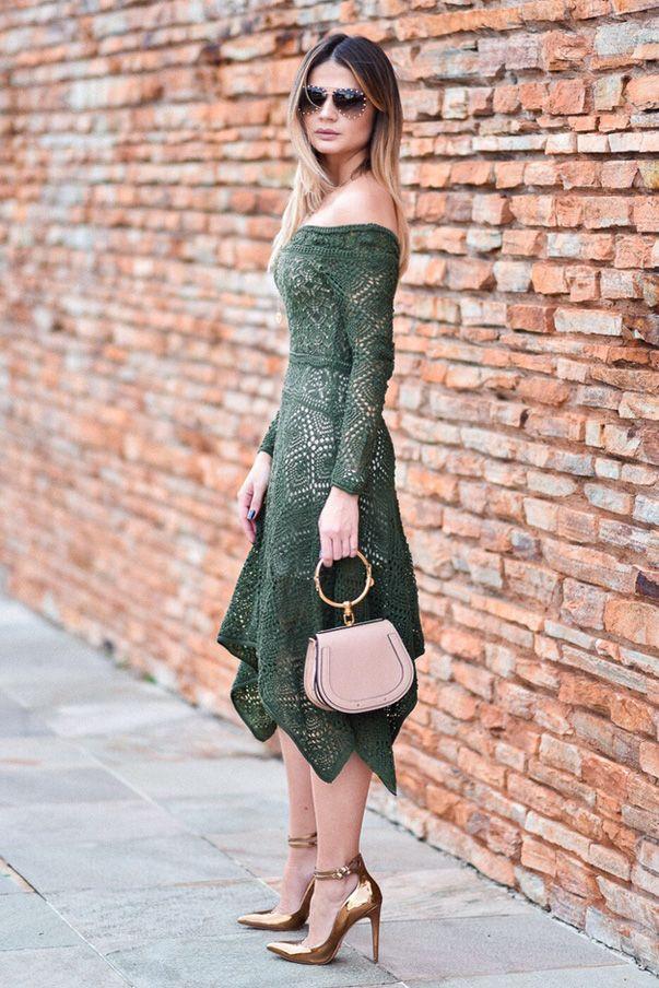 Vestido Tricot Pontas Verde | Galeria Tricot - Galeria Tricot