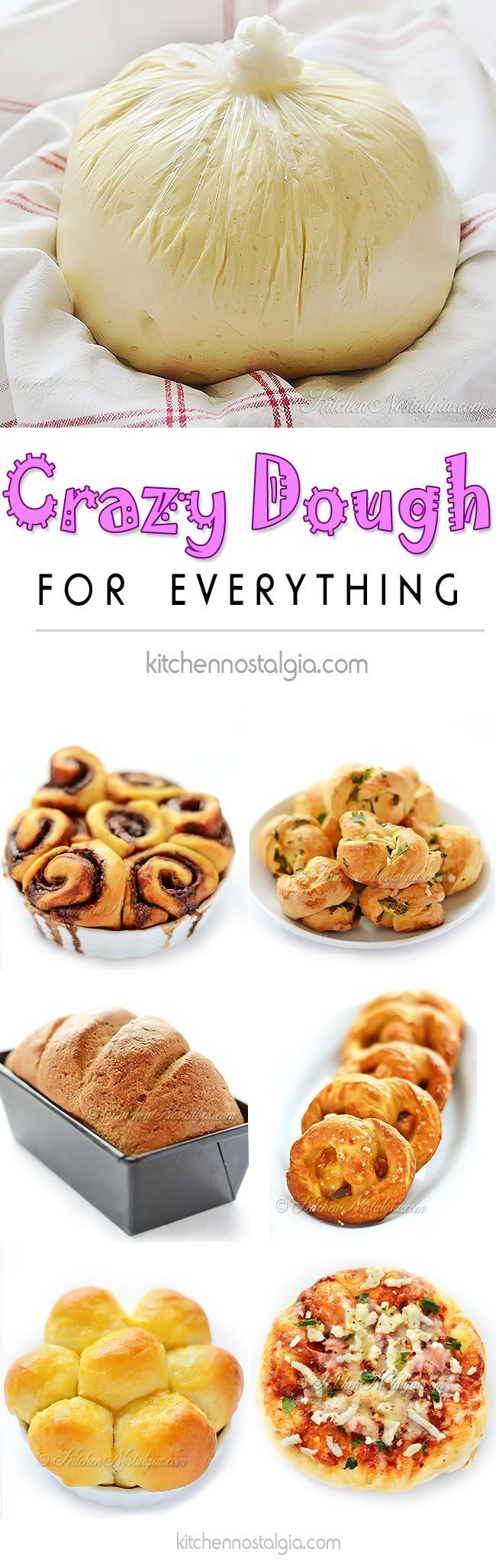 Crazy Dough for Everything - make one miracle dough, keep it in the fridge and use it for anything you like: pizza, focaccia, dinner rolls, crescent rolls...
