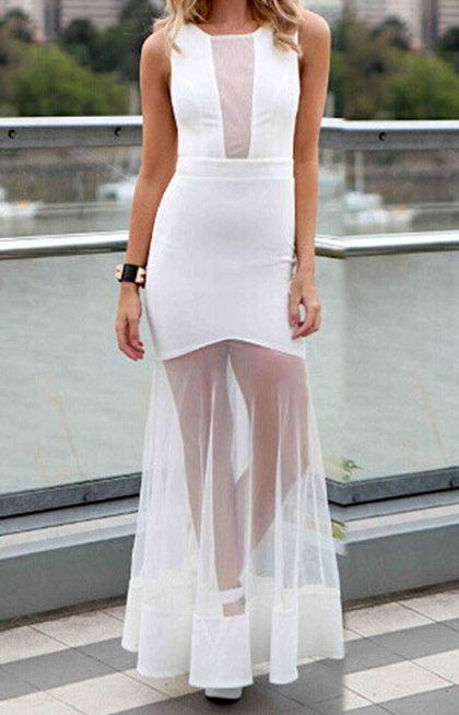 Longue robe blanche voilage transparent TU 34/42 - bestyle29.com