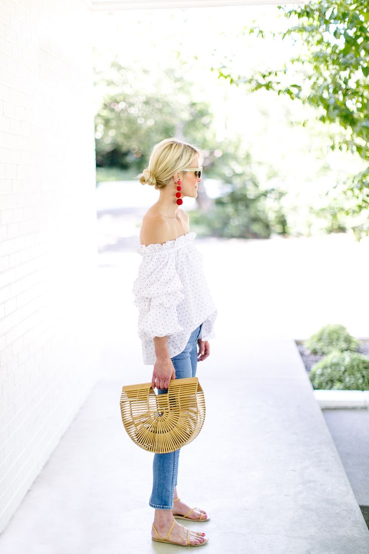 caroline constas off the shoulder top via Luella & June