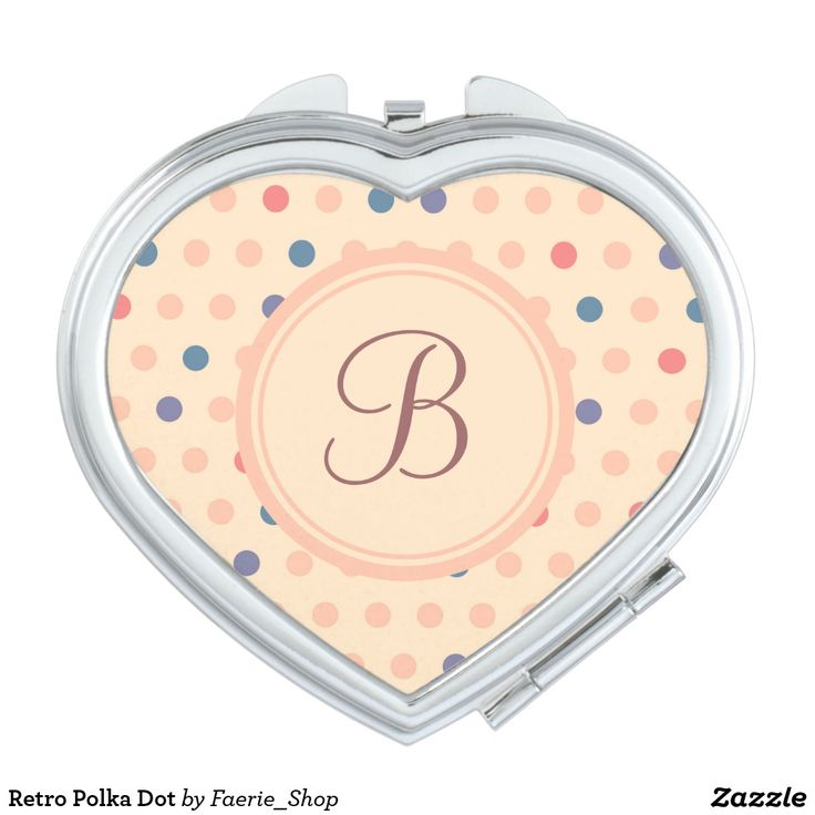 Retro Polka Dot Makeup Mirror #faerieshop #vintage #circle #polka #dot #trendy #pattern #retro #monogram #geometric #monogram #style #simple #abstract #old #design #beige #peach #red #blue #beautiful #fashion #modern #print #background #sale #zazzle #monogram #edit #customizable #gift #present #heart #mirror