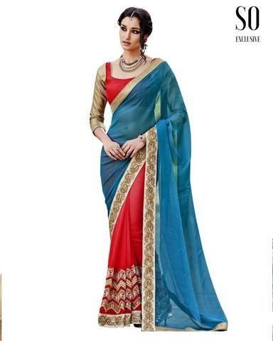 Sari Indien Bleu et Rouge Ravissant Aditi