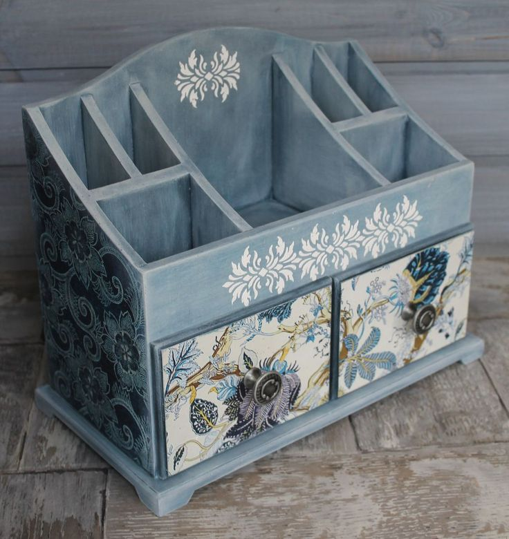 This lovely #decoupaged unit is not only #beautifully #decorated in a delicious blue but is practical too for storing little things easily lost