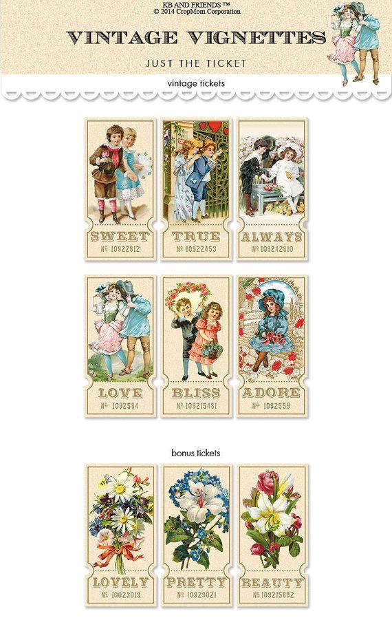 Digital vintage tickets /  vintage vignettes  / by KBandFriends