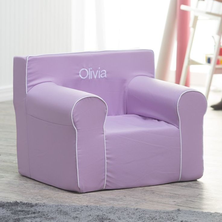 Here and There Personalized Kids Chair - Lavender Canvas with White Piping Dark Purple - 61778P-2