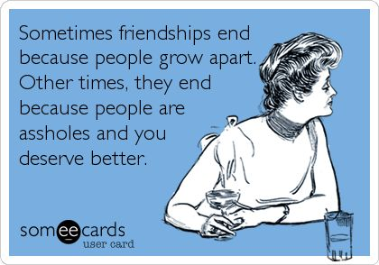 Sometimes friendships end because people grow apart. Other times, they end because people are assholes and you deserve better.   Friendship Ecard   someecards.com