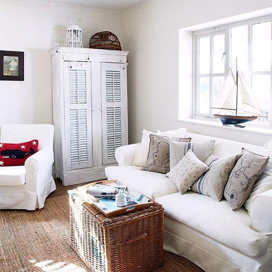 Weiß Küsten-Stil Wohnzimmer                                                                                                                                                                                 Mehr