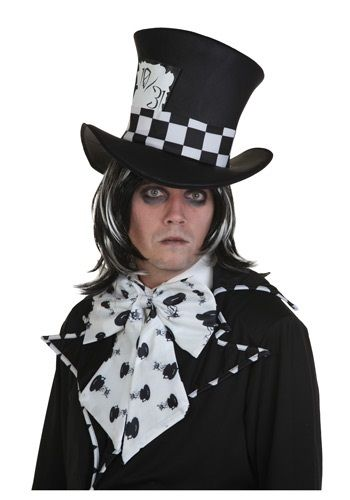 Channel the twisted mind of the Mad Hatter with this Dark Mad Hatter Wig. Ponder the mysteries of why a raven is like a writing desk. Perhaps you'll find an answer.