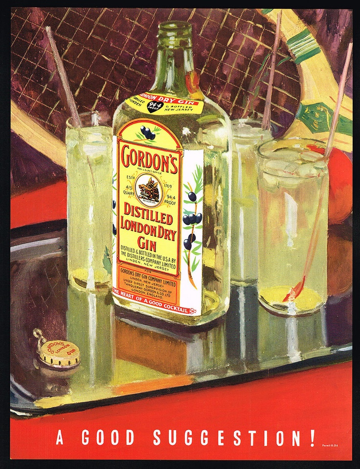 1935 Gordons London Dry Gin Bottle Tennis Racket Vintage Print Ad