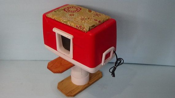 DELUXE Heated Cat Pod/2 doorsoutdoor cat by stabob on Etsy